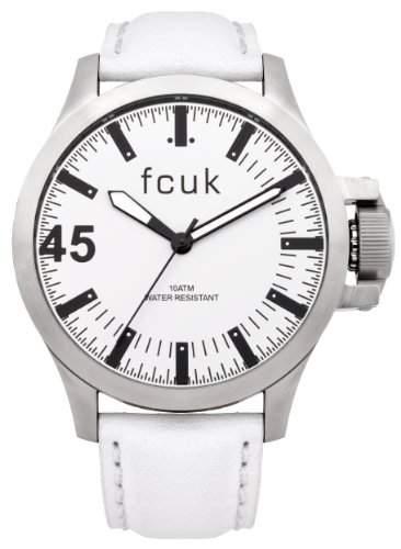 FCUK Herren-Armbanduhr Analog leder weiss FC1140W