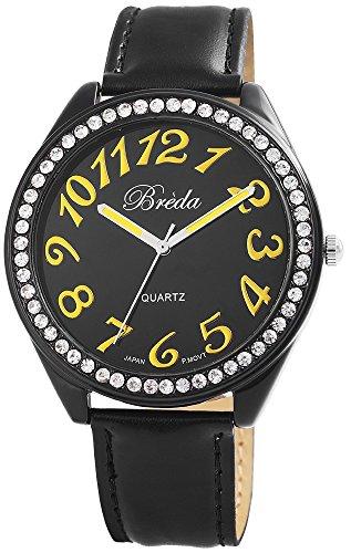 Breda Damenuhr Lederimitationarmband Armbanduhr Uhr watch Schwarz 100371000020