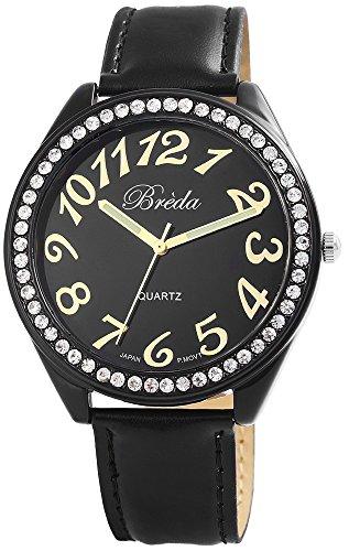 Breda Damenuhr Lederimitationarmband Armbanduhr Uhr watch Schwarz 100371100020