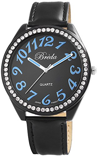 Breda Damenuhr Lederimitationarmband Armbanduhr Uhr watch Schwarz 100371200020