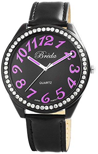 Breda Damenuhr mit Lederimitationarmband Schwarz Armbanduhr Uhr 100371300020