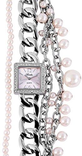 Breda Damen Analog Armbanduhr mit Quarzwerk 100425500134 und Metallgehaeuse mit Metallkettenarmband und Clipverschluss Bandgesamtlaenge 19 cm Armbandbreite 36 mm