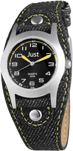 Just Watches Unisex-Armbanduhr Analog Quarz Textil 48-S0010-BK-YL
