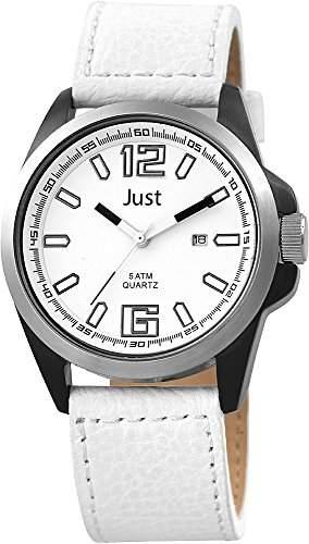 Just Watches Herren-Armbanduhr XL Analog Quarz Leder 48-S10252BK-WH