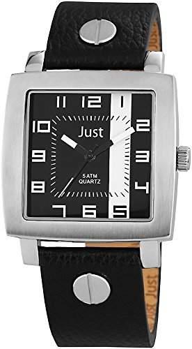 Just Watches Herren-Armbanduhr Analog Quarz Leder 48-S10445-BK