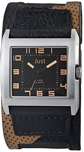 Just Watches Herren-Armbanduhr Analog Quarz Leder 48-S10629-BK