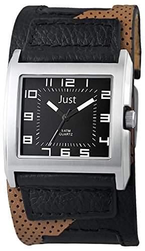 Just Watches Herren-Armbanduhr Analog Quarz Leder 48-S10629-BK-BK