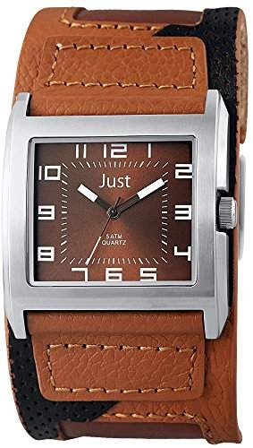 Just Watches Herren-Armbanduhr Analog Quarz Leder 48-S10629-BR