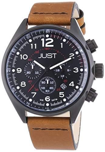 Just Watches Herren-Armbanduhr XL Analog Quarz Leder 48-S10780-BK