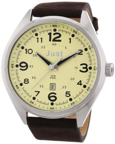 Just Watches Herren-Armbanduhr XL Analog Quarz Leder 48-S1231-BE