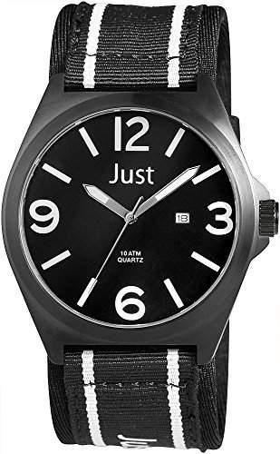 Just Watches Herren-Armbanduhr XL Analog Quarz Textil 48-S3926BK-WH