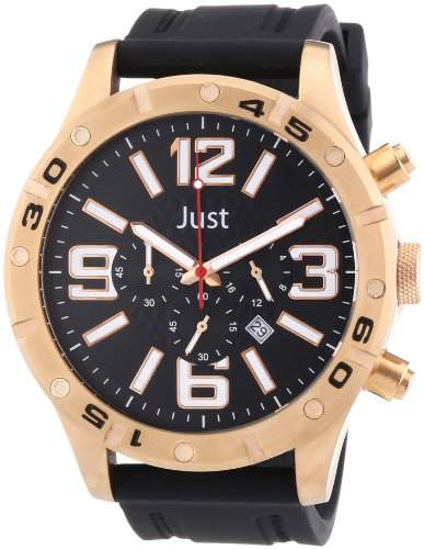 Just Watches Herren-Armbanduhr XL Analog Quarz Kautschuk 48-S3978-RG