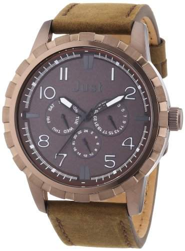 Just Watches Herren-Armbanduhr XL Analog Quarz Leder 48-S4997-BR