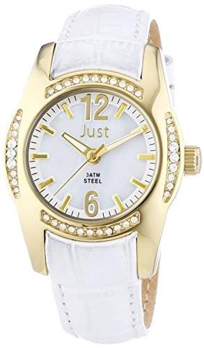 Just Watches Damen-Armbanduhr Analog Quarz Leder 48-S8368WH-GD