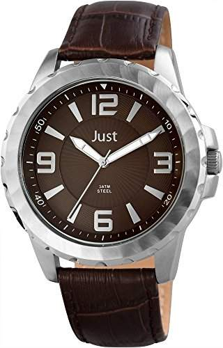 Just Watches Herren-Armbanduhr XL Analog Quarz Leder 48-S9312-BR