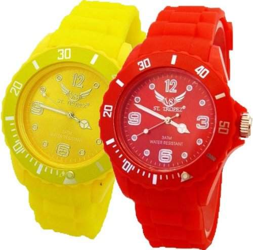 V8 Armbanduhr 2 Stueck Gelb + Rot