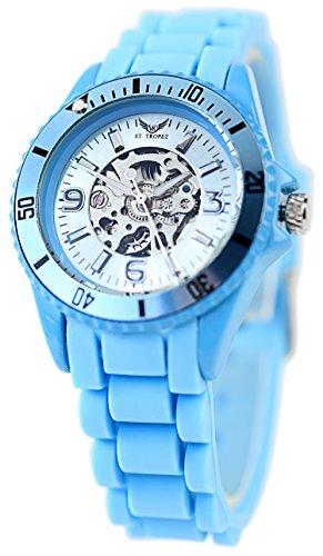 Exklusive St Tropez Sportliche Automatik Uhr Hellblau