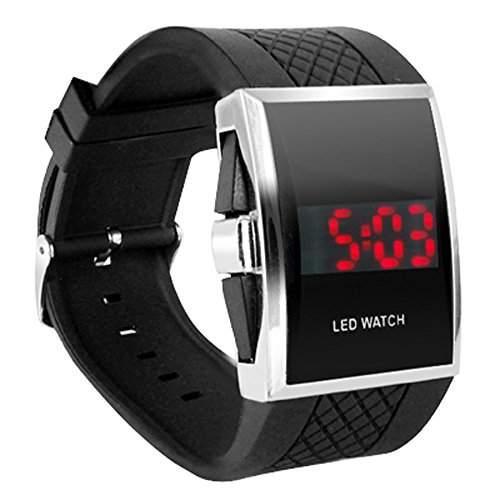 DIGIFLEX Digitale Armbanduhr fuer Maenner mit roter LED-Anzeige - in Schwarz ein elegantes Geschenk
