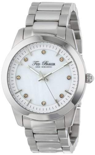 Ted Baker Watches Ladies Crystal Set Silver Steel Mother Of Pearl Watch