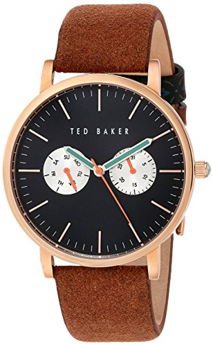 Ted Baker Gents Multi Dial Rose Gold Brown Strap Watch