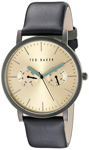 Ted Baker Herren Uhr schwarzes Lederband Zifferblatt in Goldton TE10024529