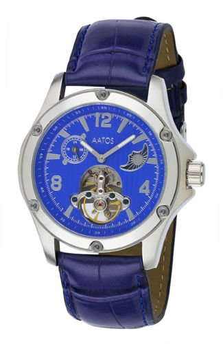 Aatos Herren Automatik Armband Uhr Lederarmband blau LuciusLSBL