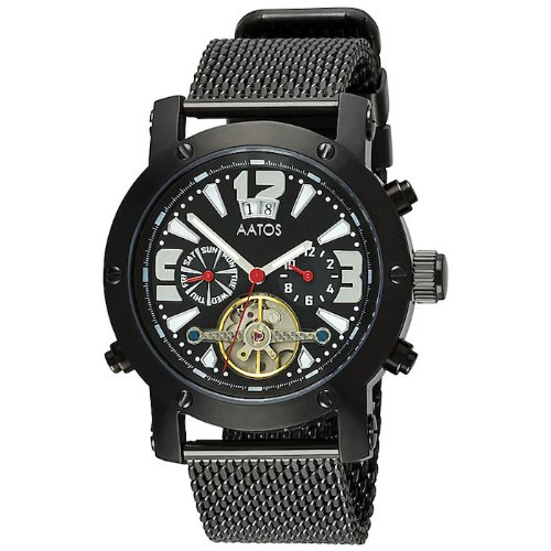 Aatos Herren Automatik Armband Uhr Schwarz PrinosBBB