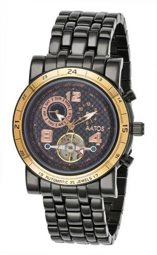 XXL Aatos Herren Automatik Armband Uhr NopeusBBB Carbonfaser Ziffernblatt schwarz
