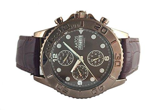 Aatos Herren Automatik Armband Uhr braun KaranisLBrBr