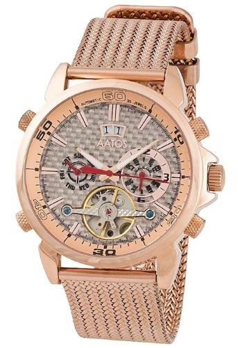 Aatos Rose Vergoldet Herren Automatik Armband Uhr AigosRgRgRg