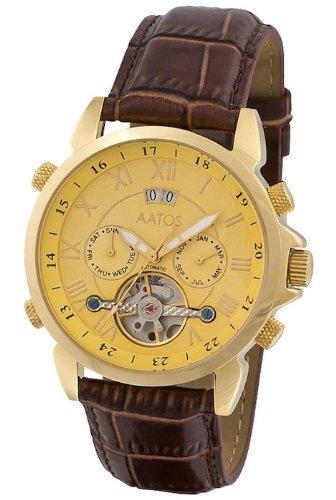 Aatos Vergoldet Herren Automatik Uhr Armband Edelstahl Lederarmband JaakkoLGG