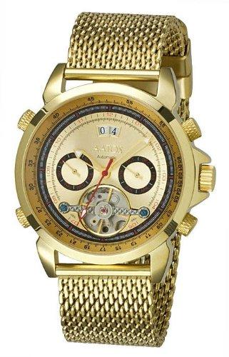 Aatos Vergoldete Herren Automatik Uhr Armband Edelstahl Milanaiseband AgabusGGG