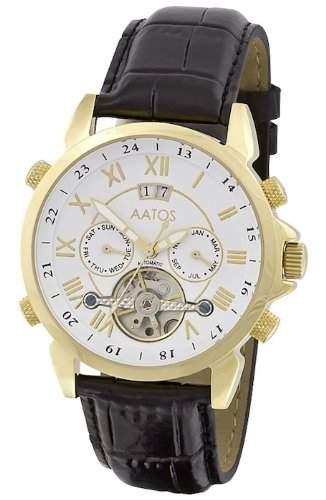Aatos Vergoldet Herren Automatik Uhr Armband Edelstahl Lederarmband JaakkoLGW