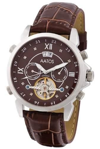 Aatos Herren Braun Automatik Uhr Armband Edelstahl Lederarmband JaakkoLSBrD
