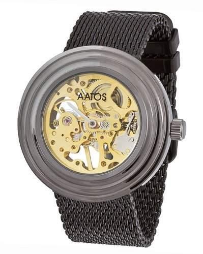 Aatos Schwarz Herren Handaufzug Armband Uhr SimeriB