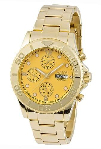 Aatos Vergoldet Herren Automatik Armband Uhr KaranisGGG