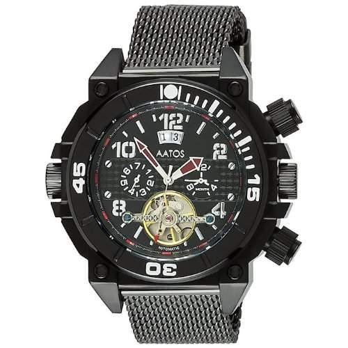 Aatos Herren Automatik Armband Uhr Schwarz OvirBBB