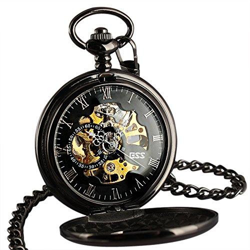 ESS WP118 E Herren Taschenuhr Steampunk Vintage Retro mechanische Taschenuhr schwarzes Messing Kette roemische Ziffern