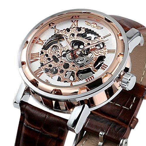 ESS Herren Braun Vintage Leder Edelstahl Gold Skelett Semi mechanische Armbanduhr M424