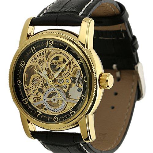 ESS Herren Golden Skelett Zifferblatt Lederband Dandy Stil automatische mechanische Uhr wm376