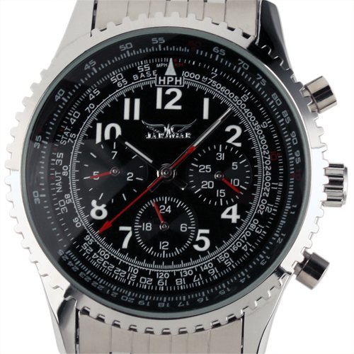 ESS Gent s schwarz Zifferblatt self wind bis Mechanische Aviator Armbanduhr WM144