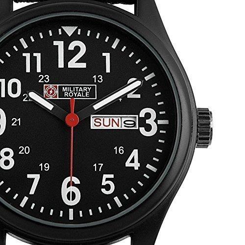 Military Royale Herren Schwarzes Nylonband Datums Wochenanzeige Luxus Armee Sport Design Armbanduhr MR051 UK
