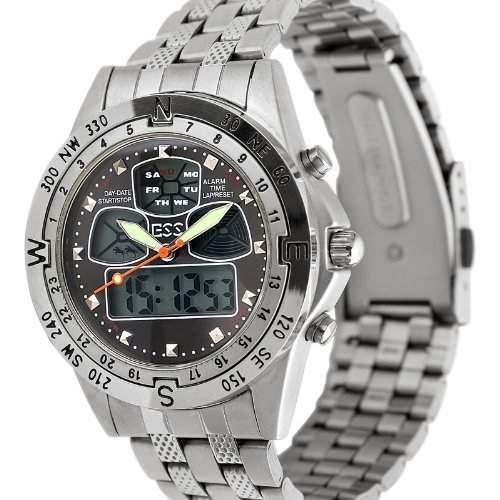 ESS - Herren Armbanduhr - Edelstahl Armband Uhr - Analog & Digital - Multifunktion - schwarz - WM005-ESS - Geschenk