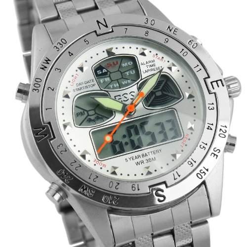 ESS - Herrenuhr - Edelstahl Armband Uhr - Analog & Digital - Multifunktion - wasserdicht - WM014-ESS