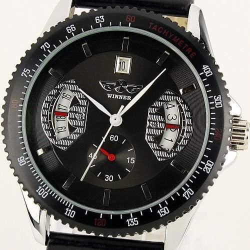 ESS Herren-Armbanduhr Analog Automatik Leder Schwarz WM121