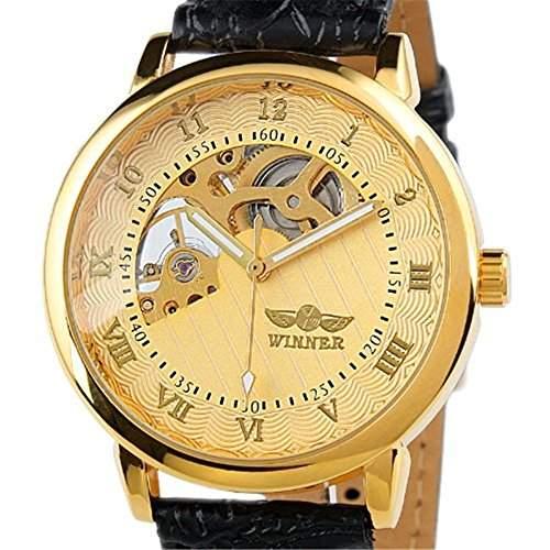 ESS - Herrenuhr - mechanische Uhr - goldene Gehaeuse - Leder Herren armbanduhr - WM208 - Geschenk