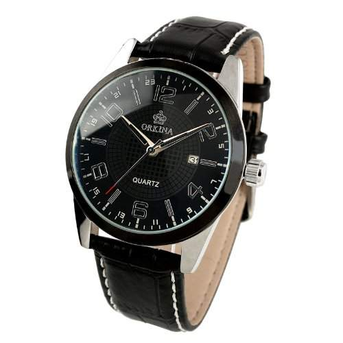 Herrenuhr - Leder Armband Uhr - Edelstahl Gehaeuse - Herren Quarz WM311