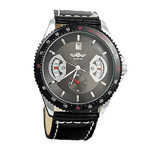 ESS - Herrenuhr - Automatik Uhr - Lederarmbanduhr - schwarz - WM121