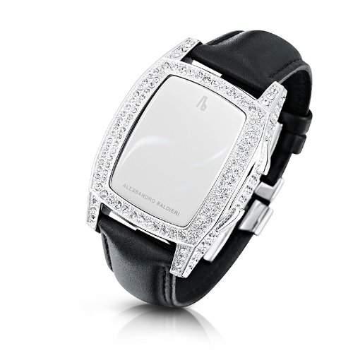 Alessandro Baldieri Damen-Armbanduhr End of Time Swarovski ClearBlack Digital Leder schwarz AB0041SW-CLR-BLA