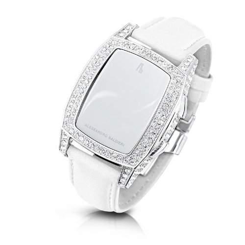 Alessandro Baldieri Damen-Armbanduhr End of Time Digital Automatik Leder weiss AB0041SW-CLR-WHT